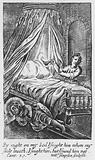 Engraving showing a bed with drapery