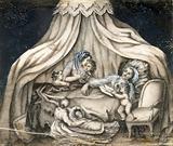 A mother feeding her children