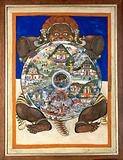 Yama, the Lord of Death, holding the Wheel of Life which represents Samsara, or the world on a Tibetan Thangka
