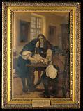 Christopher Wren making his first demonstration of a method of introducing drugs into a vein, before Dr Willis, 1667
