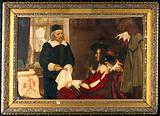 William Harvey demonstrating his theory of circulation of the blood before Charles I Contributors: Ernest Board