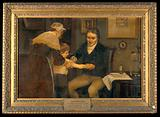 """Vaccination: """"Dr Jenner performing his first vaccination, 17"""