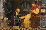 Guy de Chauliac bandaging the leg of Pope Clement VII at Avignon, while Petrarch, his enemy, jealous of his influence, …