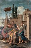Tobias curing the blindness of Tobit, with Anna and Raphael