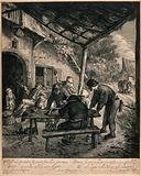 Men playing backgammon outside in an arbor, nearby others smoke and drink