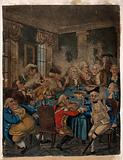 Gentlemen round a table at their club, smoking and drinking punch