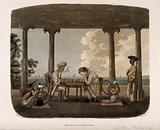 An Englishman and Asian man under an arbor playing chess and both smoking the hooka