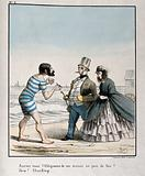 A bearded Englishman in a bathing-costume requests a light from a fully-dressed Belgian couple walking on the beach at …