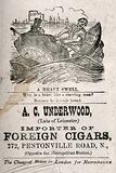 Comic sketch of a fat man being rowed in a boat with the name of cigar importer below