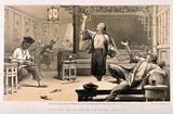 Chinese opium smokers in a saloon experiencing various effects of the drug