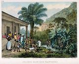 Indians on a coffee plantation washing in a lake and gathering together on the bank