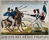 A liqueur label illustrated with a French foot-soldier attacking a Polish cavalcade