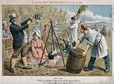 John Bull making hop-tea in front of a hop grower and his workers