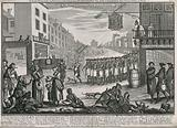A procession of publicans and a beggar following the coffin of Madam Geneva