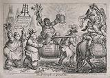 A triumphant American slave woman representing quassia (ingredient in acoholic drinks) is carried aloft by two brewers