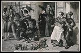 Women eject a drunk and publican from a bar in a crusade against drunkenness