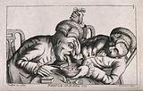 One man vomits into a bowl as his companion lifts his wig and steadies the bowl