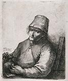 A man sits looking glum and holding his pipe and beer jug