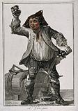 A drunken young man raises a glass in one hand and spills wine from a flask in the other