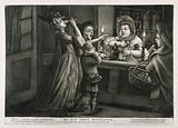 Three women in a gin shop divert the landlady's attention while a match boy steals her money