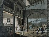 An open tavern with large archway with drinks being brought to a table of diners and a lady alighting from her phaeton