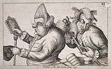 A fat hunchbacked man with two large warts on his nose with hairs growing out, admires his fashionable wig in a …