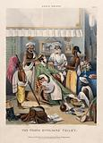 A male Anglo-Indian being washed, dressed and attended by five Indian servants