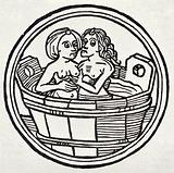 A young woman and an old woman in a bath tub