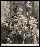 A rat-catcher in Haarlem with a rat running along his cape holds out rat poison in his right hand