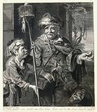 A rat-catcher in Haarlem with a rat running across his cape, holds out rat poison in his left hand