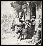 A rat-catcher and his young assistant standing outside a doorway having their services refused by an old man: the …
