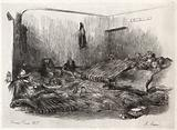 Military men settling down for the night in a squalid barrack at Gonesse during the Franco-Prussian war
