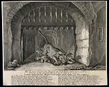 A lioness with her cubs in front of a cave with a portcullis
