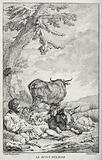A shepherd boy piping to sheep, goats and cows which are grouped around him
