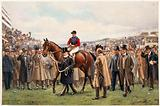 A jockey is lead through a cheering crowd by a man in a top hat holding the horse by its reins