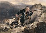 A gamekeeper trying to hush his dogs while he is kneeling and pointing his gun at a target in the distance