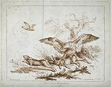 An eagle catching one hare while another escapes