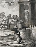 A crow is standing on the handle of a large pitcher in front of a well