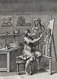 An artist is painting the portrait of a cloven-footed nobleman