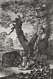 A bear is sniffing at a man lying face downwards on the ground while another man has taken refuge in a tree