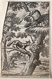 In the foreground a fox with a flaming torch in its mouth is climbing up a tree trying to reach an eagle's nest