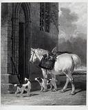 A white pony and two dogs (field spaniels?) wait by a carved stone (church?) doorway
