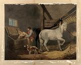 Two men and a dog in a stable, reaching into a corn bin, while two horses look on