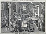 Men working at a printing press, proofing copy, inking, and setting type