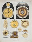 Clocks: faces (top), and mechanisms (below) of a Ferguson (right), and a Smeaton-Franklin clock (left)