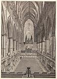 Westminster Abbey: interior looking east during the Royal Music Festival, 1834