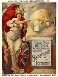 Britannia pointing to Sanatogen, Formamint, and German colonies in Africa and the East Indies as new British possessions