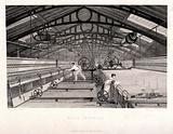Textiles: a belt-driven version of Crompton's mule inside an iron-framed spinning shed, workers setting machines and …