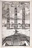Machinery: plan and elevation of scaffolding erected to raise an obelisk in Rome