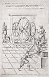 Machinery: a kind of crank-driven hammer, with a man working at a forge